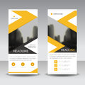 Yellow black roll up business brochure flyer banner design , cover presentation abstract geometric background, modern publication Royalty Free Stock Photo