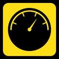 Yellow, black sign - gauge, dial symbol icon