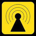 Yellow, black sign - transmitter tower icon