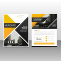 Yellow black triangle annual report Leaflet Brochure Flyer templ Royalty Free Stock Photo