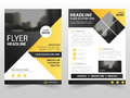 Yellow black triangle business Brochure Leaflet Flyer annual report template design, book cover layout design Royalty Free Stock Photo