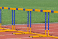 Yellow and blu hurdles photo was taken during the junior team of ukrainian championship in athletics between countries ukraine Stock Photos