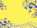 Yellow blue abstract background this is a horizontal illustration of a of swirls and flowers using and colors perfect for a Stock Photos
