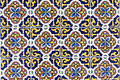 Yellow, blue, brown and white ceramic tiles background Royalty Free Stock Photo