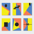 Yellow, blue, and coral backgrounds cards templates set