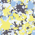 Yellow blue grey ink paint splashes seamless pattern Royalty Free Stock Photo