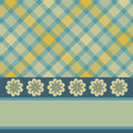 Yellow blue plaid flower card Stock Photography