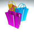 Yellow, blue and purple shopping Stock Photos