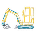 Yellow blue small outline digger Royalty Free Stock Photo