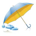 Yellow blue umbrella with drops on white background Royalty Free Stock Photos