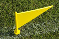 Yellow boundary flag Stock Image