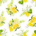 Yellow bouquets of narcissus, wildflowers and herbs seamless vec