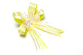 Yellow bow beautiful is on a white background Royalty Free Stock Image