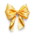 Yellow bow ribbon isolated on white background clipping path included Royalty Free Stock Image