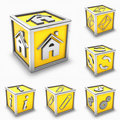 Yellow box icon set Stock Photography