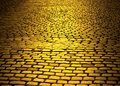 Yellow brick road cobblestone in color with vignetting Royalty Free Stock Images