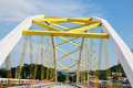 Yellow bridge in Nakornsawan Province,Thailand. Stock Photography
