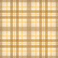 Yellow brown checked fabric seamless pattern Stock Photo