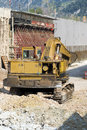Yellow buldozer in road bridge construction earth moving machine highway and Royalty Free Stock Image