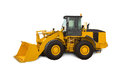 Yellow bulldozer over white background heavy machinery Stock Photos