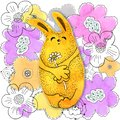 Yellow bunny, rabbit. Glade. Drawing in watercolor and graphic style for the design of prints, backgrounds, cards