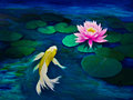 Yellow butterfly koi and a pink water lily swims towards Stock Image