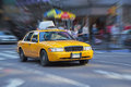 Yellow cab in new york street blurred background Royalty Free Stock Images