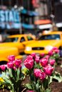 Yellow cab speeds through times square in new york ny usa Royalty Free Stock Photos