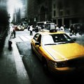 Yellow cabs in new york city grunge style typical on the streets of Stock Image