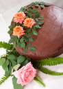 Yellow Cake with Chocolate Ganache and Roses Royalty Free Stock Photography
