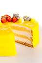 Yellow cake lemon dessert marzipan decoration Royalty Free Stock Photo