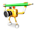 Yellow camera with both hands holding a large pencil create d robot series Royalty Free Stock Photo