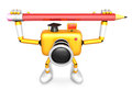 Yellow camera character both hands holding large pencil create d camera robot series Stock Images
