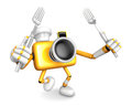 Yellow camera character cook camera in both hands to hold a fork go on foot walking create d robot series Royalty Free Stock Images