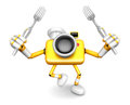 Yellow camera character cook camera in both hands to hold a fork go on foot walking create d robot series Stock Photos