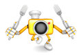 Yellow camera character cook camera in both hands to hold a fork go on foot walking create d robot series Royalty Free Stock Image