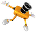 The yellow camera character in dynamic photos of the jump shot c create d robot series Royalty Free Stock Photography