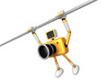 Yellow camera character is hanging in horizontal bar create d robot series Royalty Free Stock Photography