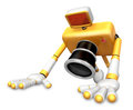 The yellow camera character is push up create d camera robot s series Stock Images