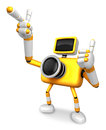 The yellow camera character taking the right hand is the best ge gesture instructed to gesture with left create d Stock Photography
