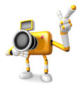 The yellow camera character taking the right hand is the best ge gesture instructed to gesture with left create d Royalty Free Stock Photography