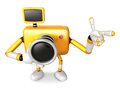 The yellow camera character taking the right hand is the best ge gesture instructed to gesture with left create d Stock Photo
