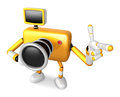 The yellow camera character taking the right hand is the best ge gesture instructed to gesture with left create d Royalty Free Stock Photo