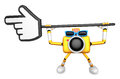 That yellow camera holding a large cursor indicate a direction create d robot series Stock Image