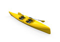 Yellow canoe isolated on white background d render Stock Image