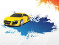 Yellow car and blue splash Royalty Free Stock Photo