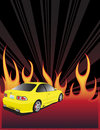 Yellow car and fire Royalty Free Stock Photo