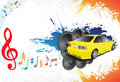 Yellow car and music Royalty Free Stock Photos