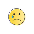 Yellow Cartoon Face Cry Tears People Emotion Icon