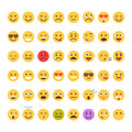 Yellow Cartoon Face Set Emoji People Different Emotion Icon Collection